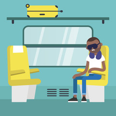 Young black passenger sitting in the train compartment / editable flat vector illustration