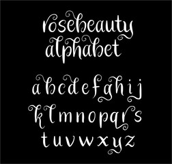 Rosebeauty vector alphabet lowercase characters. Good use for logotype, cover title, poster title, letterhead, body text, or any design you want. Easy to use, edit or change color.