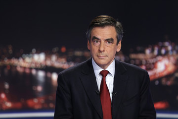 Former French prime minister Fillon, and former candidate for the leadership of the UMP political party, is seen at the studios of private television station TF1 in Boulogne-Billancourt, near Paris