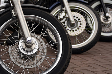 Close up on motorcycle wheels