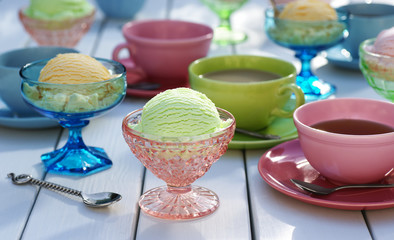 Ice Cream, Sherbet, and Tea on Picnic Table