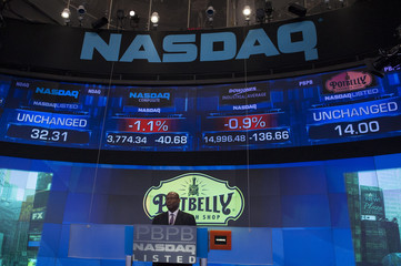 Potbelly Corporation CEO Lewis speaks before the company's IPO at the Nasdaq Market site in New York