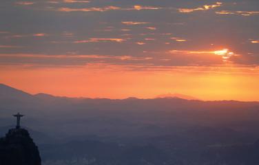 Christ the Redeemer during sunrise in Rio de Janeiro