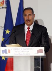 Qatar's PM Sheikh Hamad delivers speech during 5th Finance & Investment in Qatar Forum in Paris