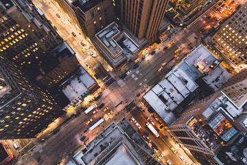 An aerial view of the New York street in New York City, USA