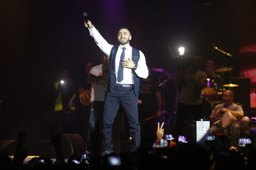 Egyptian singer Tamer Hosny performs during his concert at the Casablanca indoor stadium in Casablanca