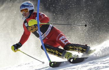 Razzoli of Italy clears pole during men's slalom at World Cup in Kranjska Gora