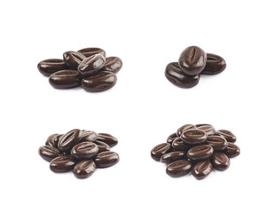 Pile of chocolate candies isolated