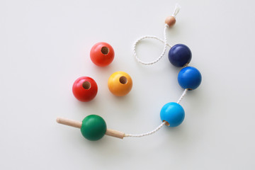 Wooden rainbow lacing baby toy