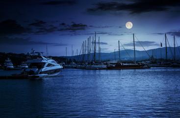 yacht at the pier  at night