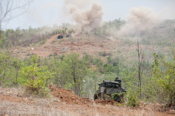 Real ammunition maneuver by using the commando stingray light tank was exported for use by armed forces of Thailand.