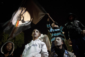 Israeli Ethiopians, some with their faces painted, shout slogans during a protest in Tel Aviv against racism towards Israelis of Ethiopian descent
