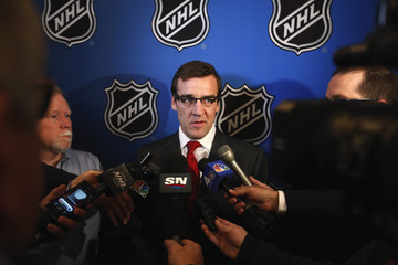 Washington Capitals general manager, McPhee, speaks to media before Commissioner Bettman announces end of labor negotiations between the NHL and NHLPA in New York