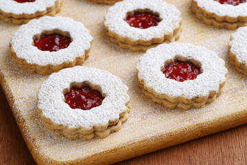 Linzer Torte Cookies Filled With Raspberry Jam on Board