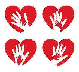 Set of icons with hands on a background of red hearts
