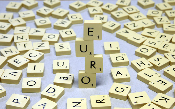 The word Euro, made from letters of a scrabble game, is seen in this illustration picture taken in Ljubljana