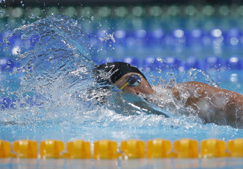 Sotodate of Japan competes in the men's 4x200m freestyle heats during the World Swimming Championships in Barcelona