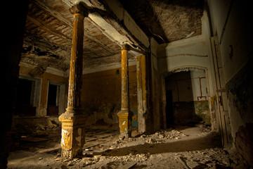 Inside of old creepy abandoned mansion. Former manor of Karl von Meck