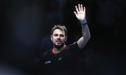Wawrinka celebrates win against Berdych at ATP World Tour Finals in London