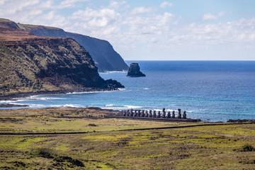 Moai Statues of Ahu Tongariki view from Rano Raraku Volcano - Easter Island, Chile