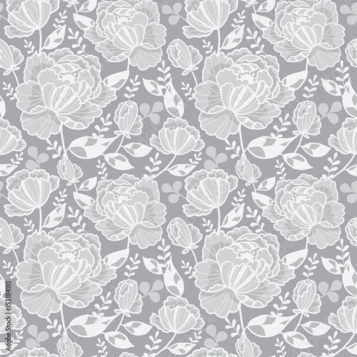 Vector Silver Grey Decorative Roses And Leaves Seamless Repeat Pattern Background Great For Handmade Cards