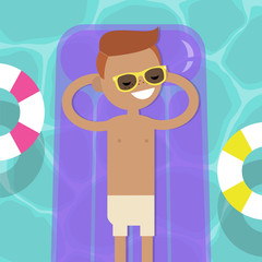 Young character lying on the inflatable mattress in the swimming pool. Top view / flat editable vector illustration, clip art