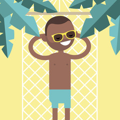 Young black character lying in a hammock under the palm trees. Top view / flat editable vector illustration, clip art