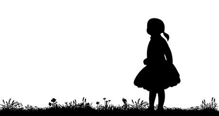 silhouette little girl walking in the nature, walk