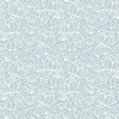 Vector silver grey spring flowers texture seamless repeat pattern bacgkround design. Great for springtime greeting cards, invitations, wedding, fabric, wallpaper, wrapping projects.