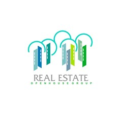 Real Estate logo design template. Corporate branding identity. Eco and green logo