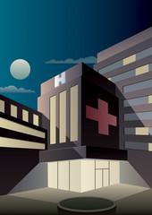Art Deco Hospital / Cartoon hospital at night in Art Deco style.