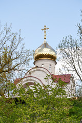 Dome and a cross on a background of blue sky. The Orthodox Church, Russia
