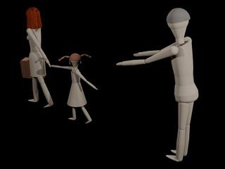 Eine Frau verlässt ihren Mann mit ihrer Tochter (3D-Rendering mit Holzpupen)