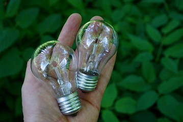 Две стеклянные лампочки на руке