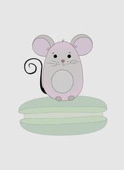A small and cute mouse sitting on a macarons. Vector Illustration
