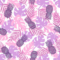 Beautiful purple tropical background. Palm leaves, branches, pineapples. Vector hand drawn seamless pattern