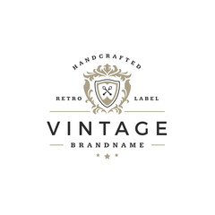 Luxury logo template vector object for logotype or badge Design.