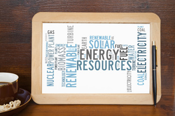 blackboard with energy resources word cloud