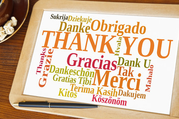 blackboard with thank you word cloud