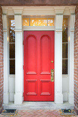 Red Door with White Columns
