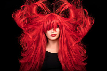 Beautiful and healthy long red hair. Flying hair