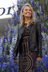 US Ambassador to France Jane Hartley poses before attending the Spring/Summer 2016 women's ready-to-wear collection show for Dior during the Fashion Week in Paris