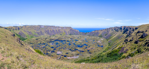 Panoramic view of Rano Kau Volcano Crater - Easter Island, Chile