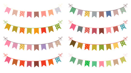 Festive vector buntings with colorful flags for birthdays and other celebrations
