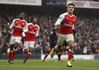Arsenal's Alexis Sanchez celebrates scoring their second goal