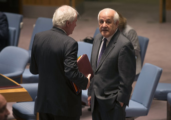 British Ambassador to the United Nations Grant speaks with Palestinian Ambassador to the United Nations Mansour before a Security Council meeting on the situation in the Middle East, at U.N. headquarters in New York