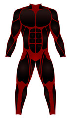 Divers suit, muscle optics - red black wetsuit for water sports - or to be worn as a hero costume - isolated vector illustration on white background.