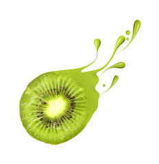 Juicy kiwi with splashes and drops of paint, isolated on white background