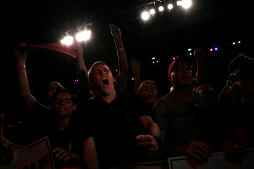 Supporters cheer for Trump at a campaign speech in Fort Myers, Florida, U.S.