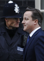 Britain's Prime Minister David Cameron leaves Downing Street in London